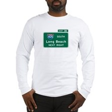 Long Beach, CA Highway Sign Long Sleeve T-Shirt