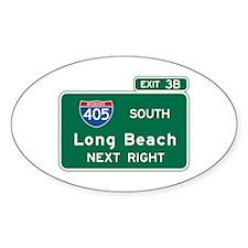 Long Beach, CA Highway Sign Oval Sticker (10 pk)