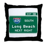 Long Beach, CA Highway Sign Throw Pillow