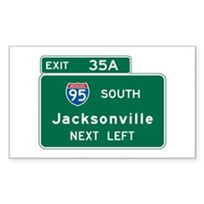 Jacksonville, FL Highway Sign Rectangle Sticker 1