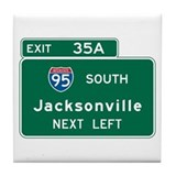 Jacksonville, FL Highway Sign Tile Coaster