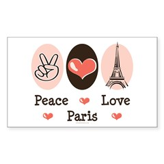 Peace Love Paris Rectangle Sticker 50 pk)