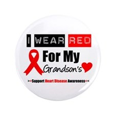"I Wear Red Grandson 3.5"" Button (100 pack)"