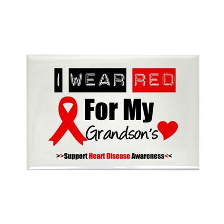 I Wear Red Grandson Rectangle Magnet