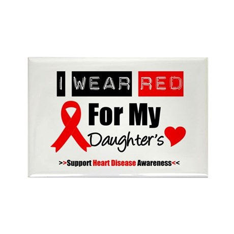 I Wear Red Daughter Rectangle Magnet