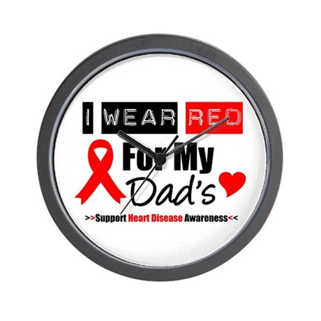 I Wear Red Dad Wall Clock