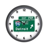 Detroit, MI Highway Sign Wall Clock