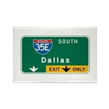 Dallas, TX Highway Sign Rectangle Magnet