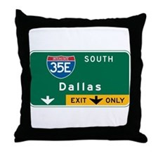 Dallas, TX Highway Sign Throw Pillow