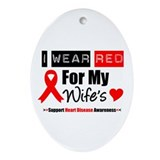 I Wear Red For My Wife Oval Ornament