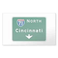 Cincinnati, OH Highway Sign Rectangle Sticker 50