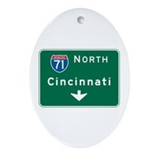 Cincinnati, OH Highway Sign Oval Ornament