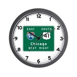 Chicago, IL Highway Sign Wall Clock