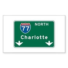 Charlotte, NC Highway Sign Rectangle Decal