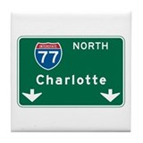 Charlotte, NC Highway Sign Tile Coaster