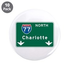 "Charlotte, NC Highway Sign 3.5"" Button (10 pack)"