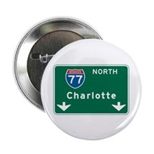 "Charlotte, NC Highway Sign 2.25"" Button (10 pack)"