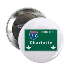"Charlotte, NC Highway Sign 2.25"" Button"