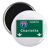 "Charlotte, NC Highway Sign 2.25"" Magnet (10 pack)"