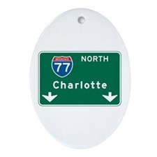 Charlotte, NC Highway Sign Oval Ornament