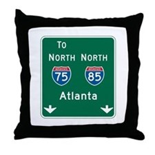 Atlanta, GA Highway Sign Throw Pillow