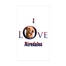 Airedale I Love Rectangle Sticker 50 pk)