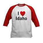 I Love Idaho (Front) Kids Baseball Jersey