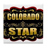 Colorado Star Gold Badge Seal Tile Coaster