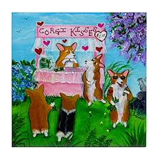 Corgi Kisses Tile Coaster