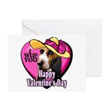 Basset Hound Valentines Greeting Card