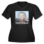Help Obama Women's Plus Size V-Neck Dark T-Shirt