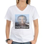 Help Obama Women's V-Neck T-Shirt