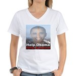 Help Obama Help America Women's V-Neck T-Shirt