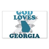 God Loves Georgia Rectangle Sticker 10 pk)