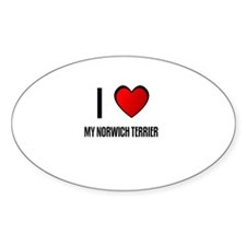 I LOVE MY NORWICH TERRIER Oval Decal
