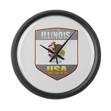 Illinois USA Crest Large Wall Clock