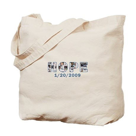 Obama Headlines Hope Date Tote Bag