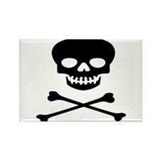Black Skull and Crossbones Rectangle Magnet