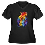LOVE CAT Bright Colors Women's Plus Size V-Neck Da