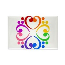 Bass Clef Flower Rectangle Magnet