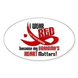 Red For Grandma Heart Disease Oval Decal