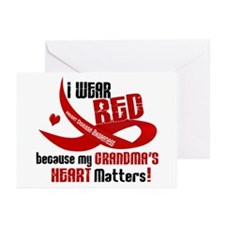Red For Grandma Heart Disease Greeting Cards (Pk o