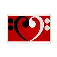Bass Clef Heart Rectangle Magnet