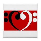 Bass Clef Heart Tile Coaster