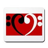 Bass Clef Heart Mousepad