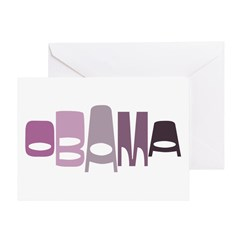 Funky Obama Oval (purple) Greeting Card