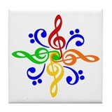 Bass and Treble Clef Design Tile Coaster