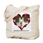 Paw Prints on My Heart, White Tote Bag
