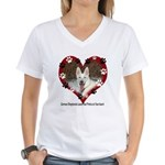 Paw Prints on My Heart, White Women's V-Neck T-Shi