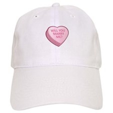 WILL YOU MARRY ME? Candy Heart Baseball Cap